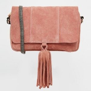 ASOS pink suede crossbody bag with snake strap